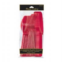 Apple Red Plastic Cutlery Set (24)